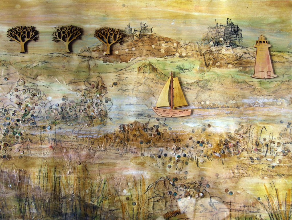 a mixed media collage of a boat sailing down a river