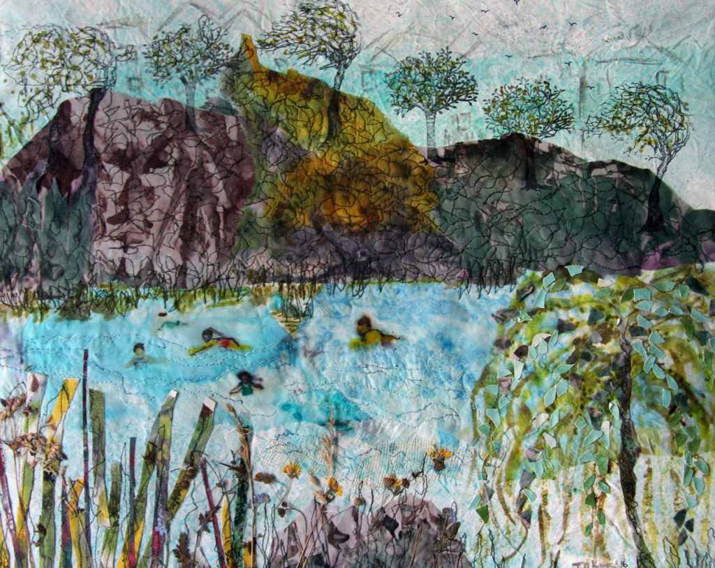 A textile collage of henleaze lake with details stitched in